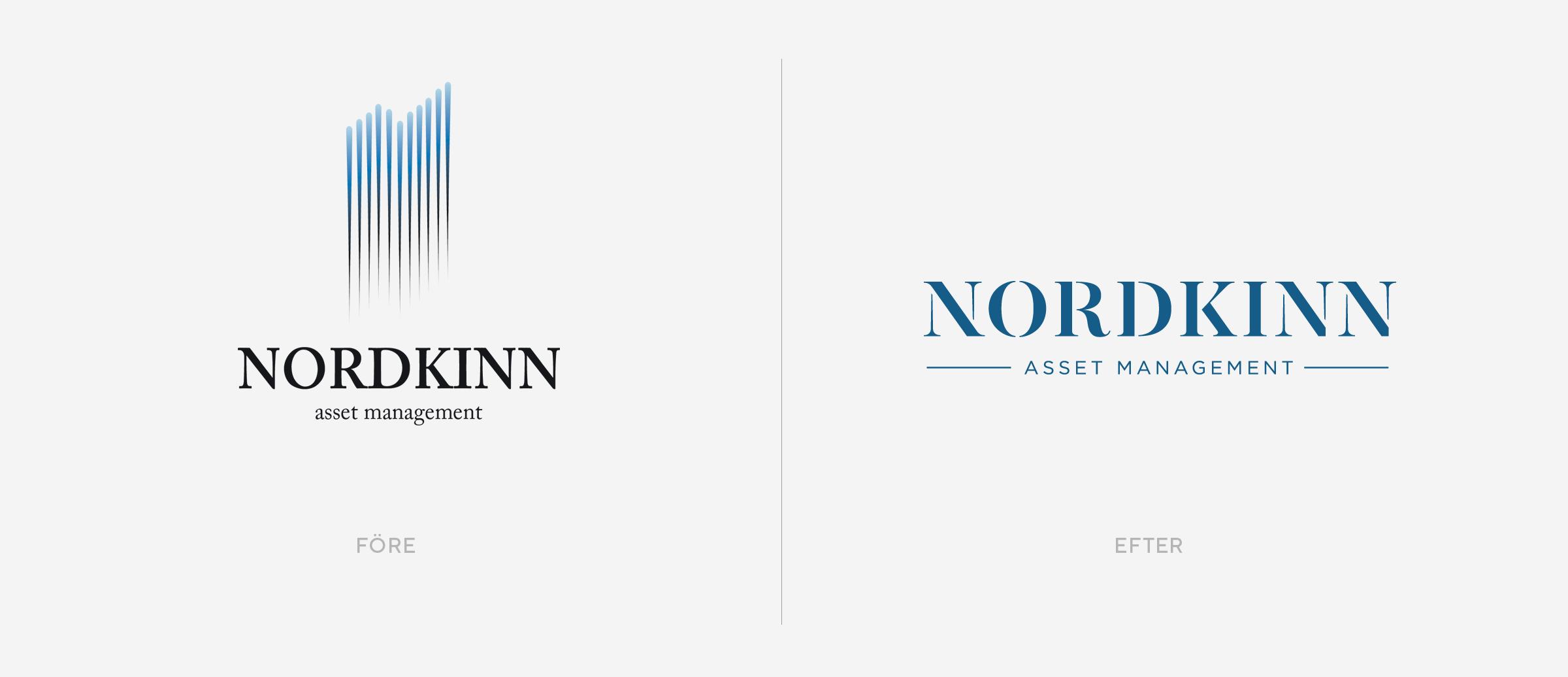 grafisk design logotyp före efter kapitalfärvaltare Nordkinn branding varumärke