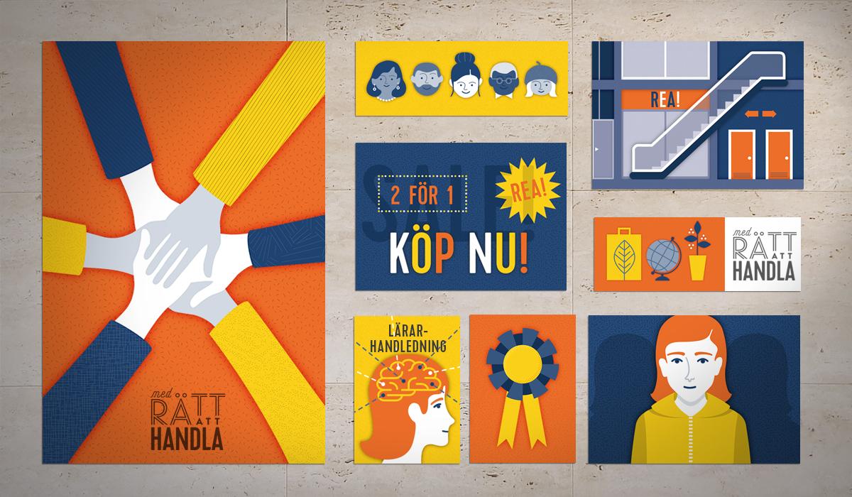 logotyp, illustrationer och en animerad film för utbildningsmaterial till Sveriges Konsumenter