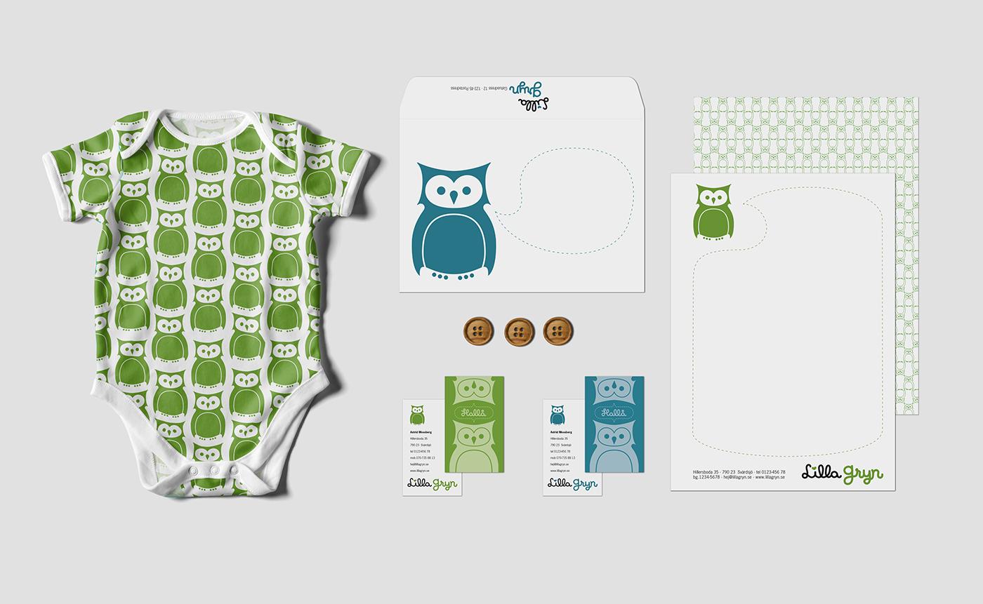 logotyp grafisk identitet ekologiska barnklädesmärket Lilla Gryn grafisk profil varumärke