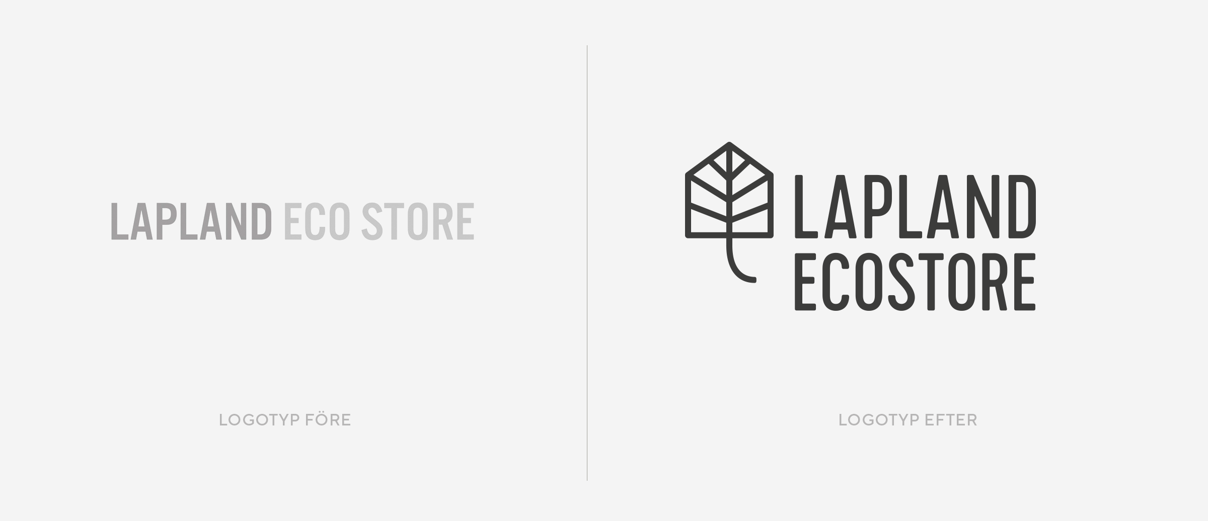 redesign logotyp Lapland Ecostre före efter